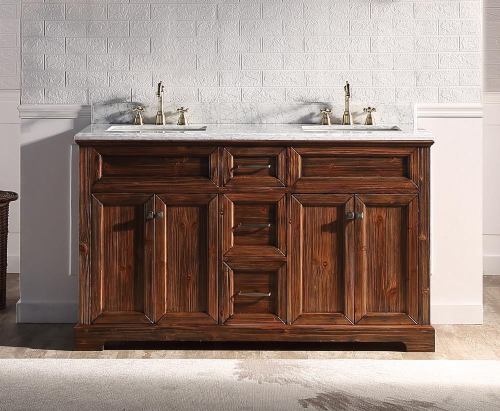 Double Sink Bathroom Vanity, Natural Wood Bathroom Vanity