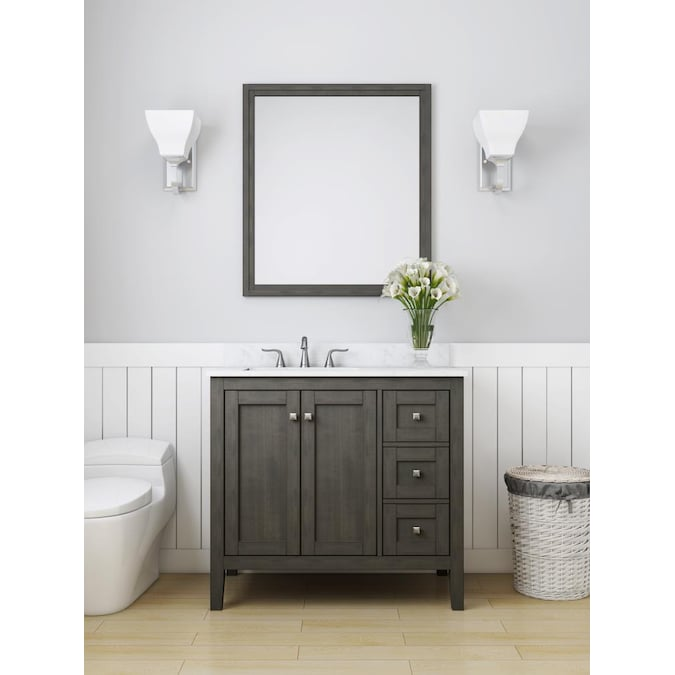 Allen Roth Everdene 36 In Grey Undermount Single Sink Bathroom Vanity With Carrera White Engineered Stone Top In The Bathroom Vanities With Tops Department At Lowes Com