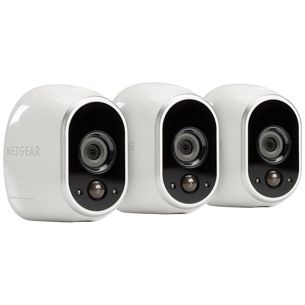 Arlo Arlo Security Camera Wireless Smart Outdoor Security Camera (3-Pack) in White | VMS3330-100NAS