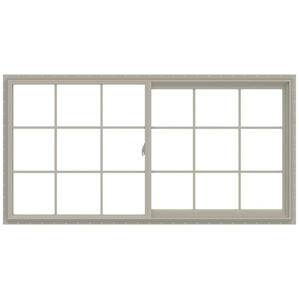 JELD-WEN V-2500 71.5-in x 35.5-in x 2.9065-in Jamb Between The Glass Right-operable Vinyl New Construction Egress Desert Sand Sliding Window in Brown -  LOWOLJW138500740