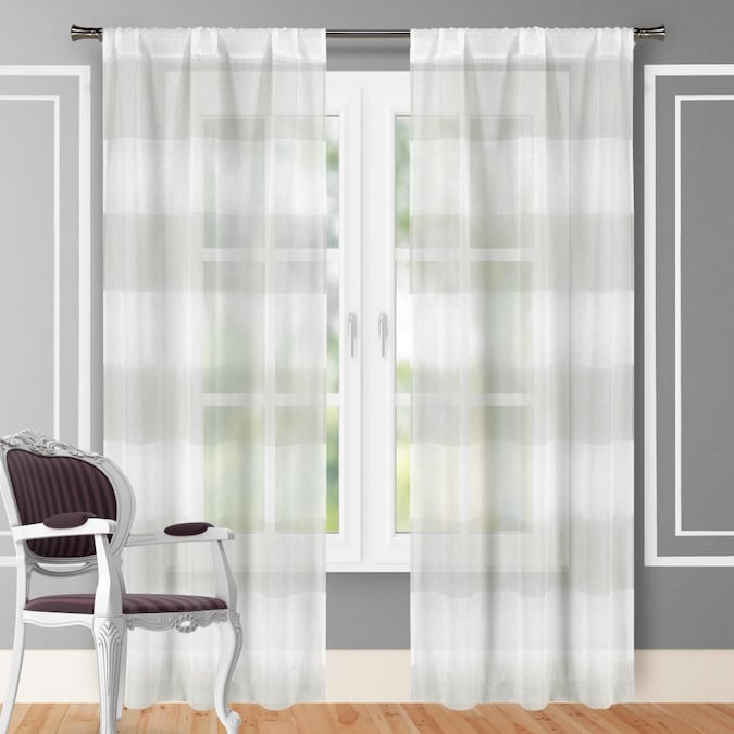Lined Rod Pocket Curtain Panel Pair, Lined White Curtains