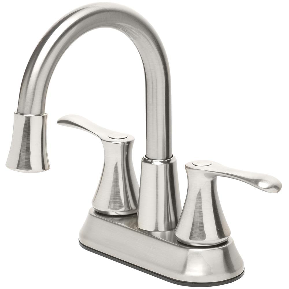 Homewerks Worldwide Led Aerator Brushed Nickel 2 Handle 4 In Centerset Watersense Bathroom Sink Faucet With Drain In The Bathroom Sink Faucets Department At Lowes Com