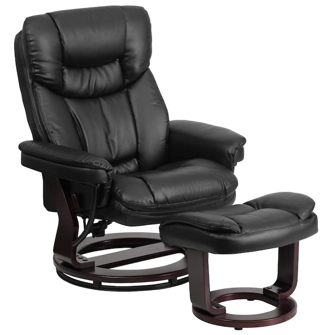 Flash Furniture Black Faux Leather, Flash Furniture Reclining Office Chair With Ottoman