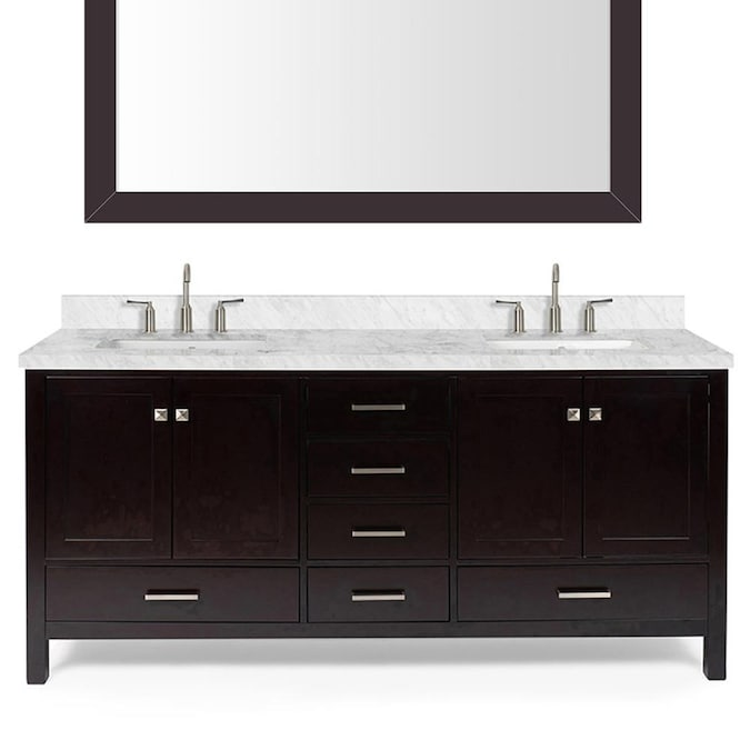 Ariel Cambridge 73 In Espresso Undermount Double Sink Bathroom Vanity With White Natural Marble Top Mirror Included In The Bathroom Vanities With Tops Department At Lowes Com