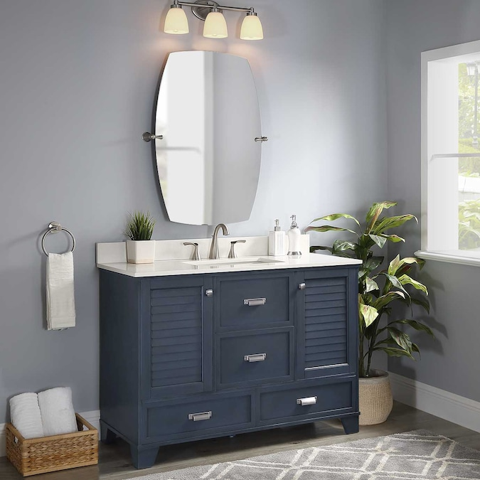 Allen Roth Leeland 48 In Harbor Blue, What Size Mirror Over A 48 Inch Vanity