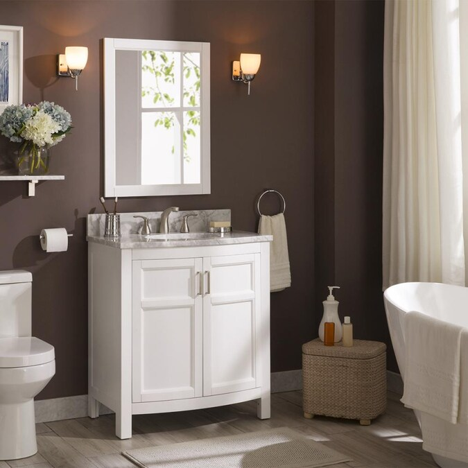 Allen Roth Moravia 30 In White Undermount Single Sink Bathroom Vanity With Natural Carrara Marble Top In The Bathroom Vanities With Tops Department At Lowes Com