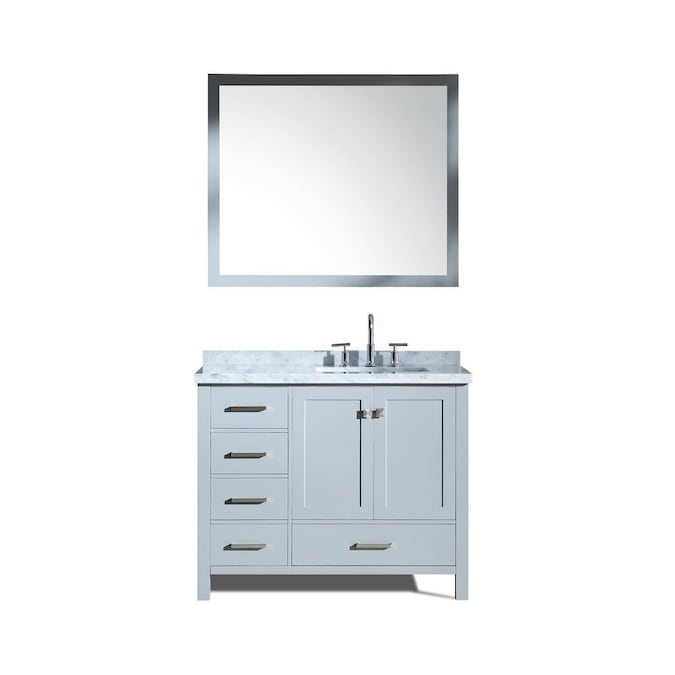 Ariel Cambridge 43 In Grey Undermount Single Sink Bathroom Vanity With White Natural Marble Top Mirror Included In The Bathroom Vanities With Tops Department At Lowes Com