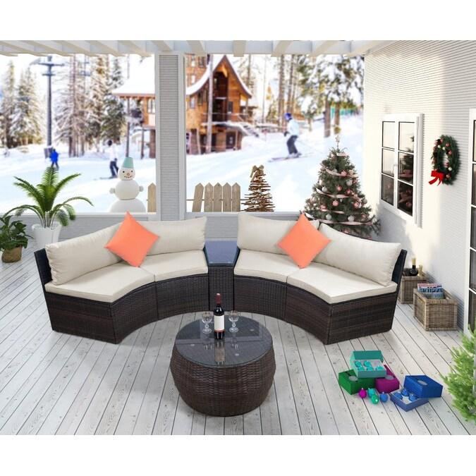 Casainc 6 Piece Patio Furniture Sets, Half Moon Furniture