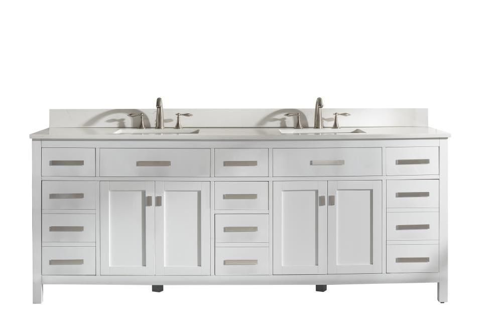 Design Element Valentino 84 In White Undermount Double Sink Bathroom Vanity With White Quartz Top In The Bathroom Vanities With Tops Department At Lowes Com