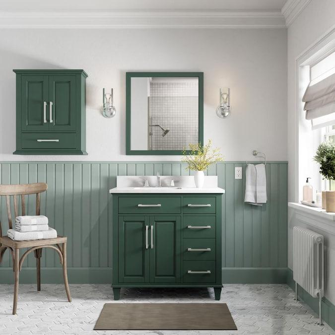 Allen Roth Brookview 36 In Pine Undermount Single Sink Bathroom Vanity With Carrara Engineered Marble Top In The Bathroom Vanities With Tops Department At Lowes Com