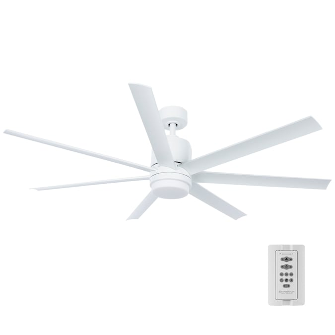 Fanimation Studio Collection Blitz 56 In Matte White Led Indoor Outdoor Ceiling Fan With Remote 7 Blade In The Ceiling Fans Department At Lowes Com