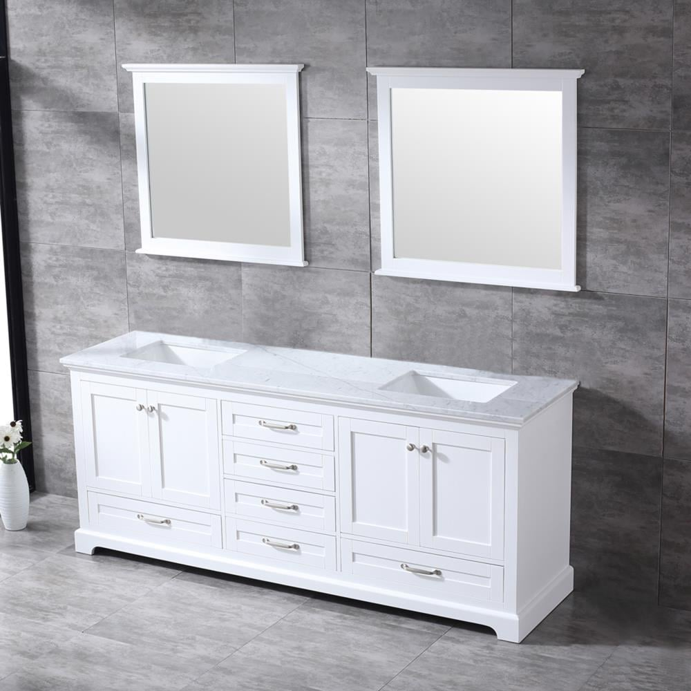 Lexora Dukes 80 In White Double Sink Bathroom Vanity With White Carrara Marble Top Mirror Included In The Bathroom Vanities With Tops Department At Lowes Com