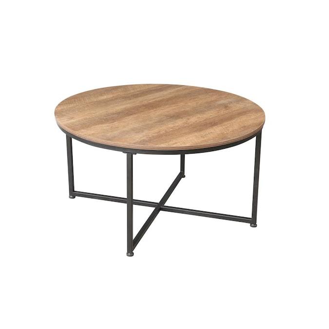 Casainc Brown Modern Round Metal Coffee, Round Metal End Tables