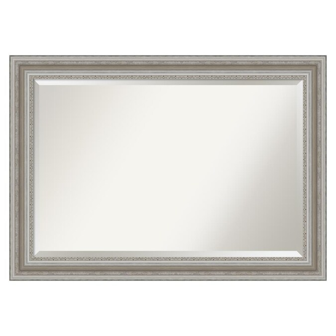 Amanti Art Parlor Silver Frame Collection 41 5 In Antique Silver Rectangular Bathroom Mirror In The Bathroom Mirrors Department At Lowes Com