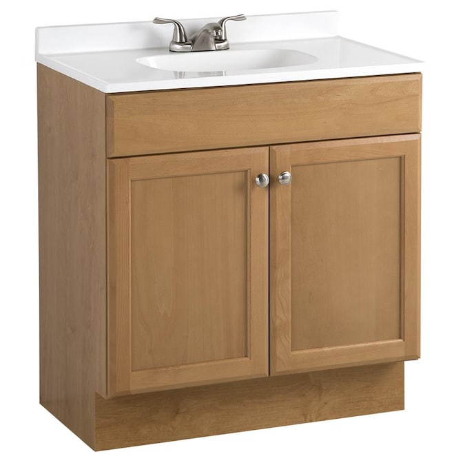 Project Source 30 In Golden Single Sink Bathroom Vanity With White Cultured Marble Top In The Bathroom Vanities With Tops Department At Lowes Com