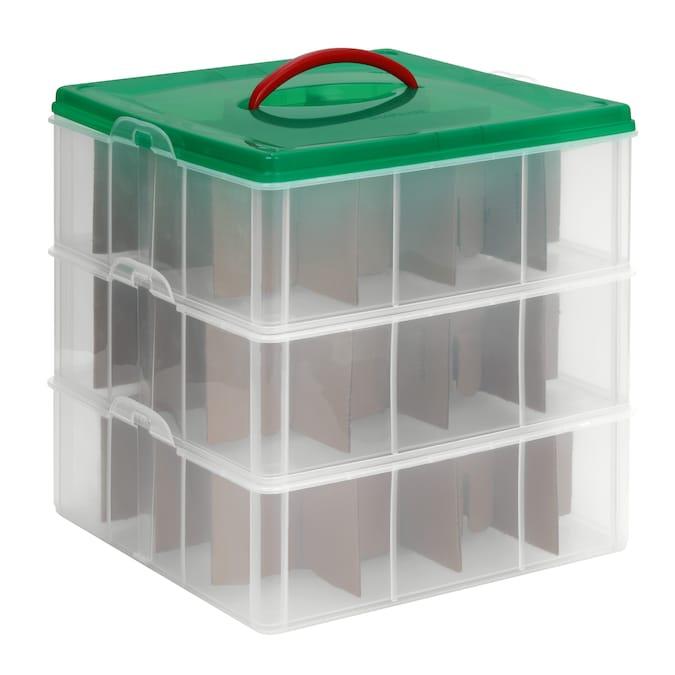 Snapware 3 Pack Clear Green Lid Tote, Snapware Ornament Storage
