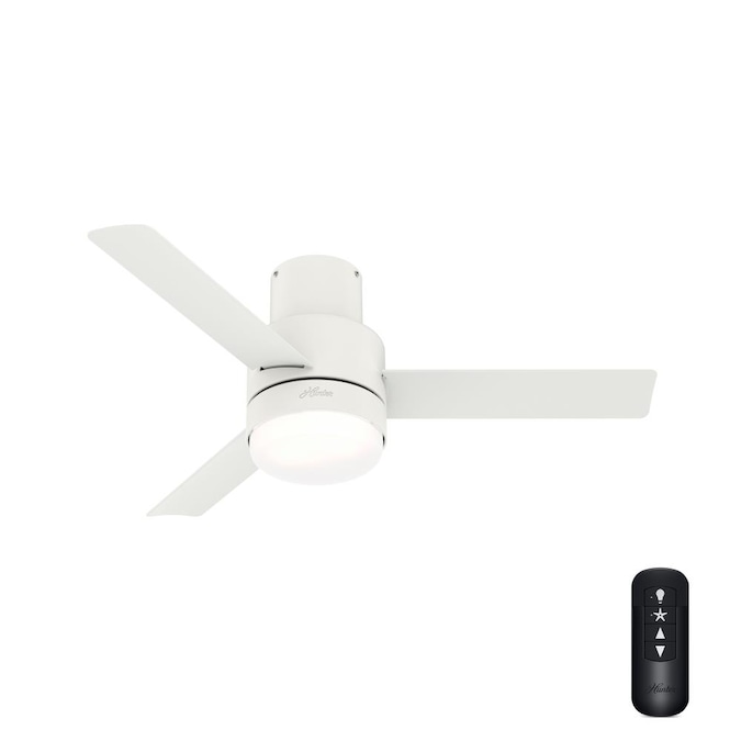 Hunter Gilmour 44 In Matte White Led Ceiling Fan With Remote 3 Blade In The Ceiling Fans Department At Lowes Com