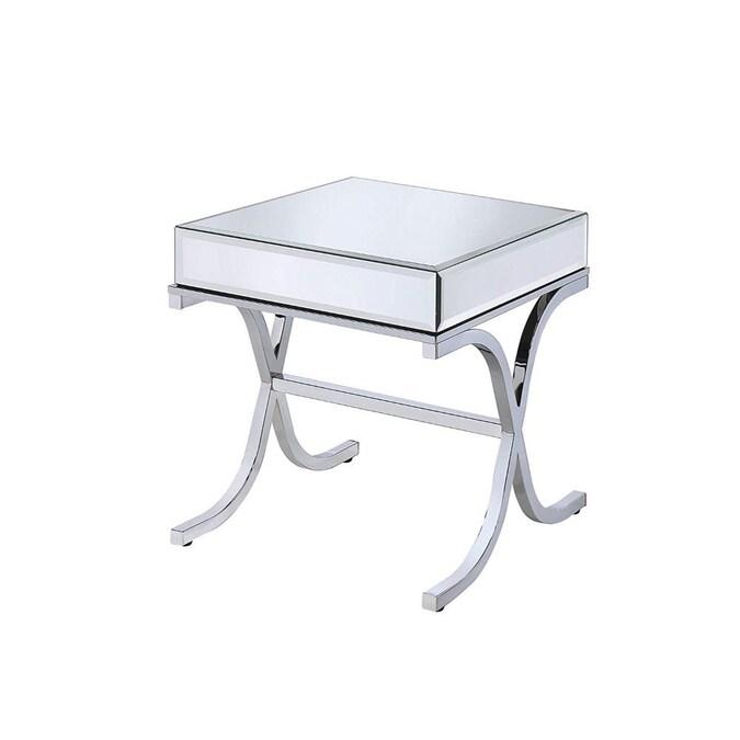 Benzara Silver Mirror End Table In The, Silver Mirror End Table