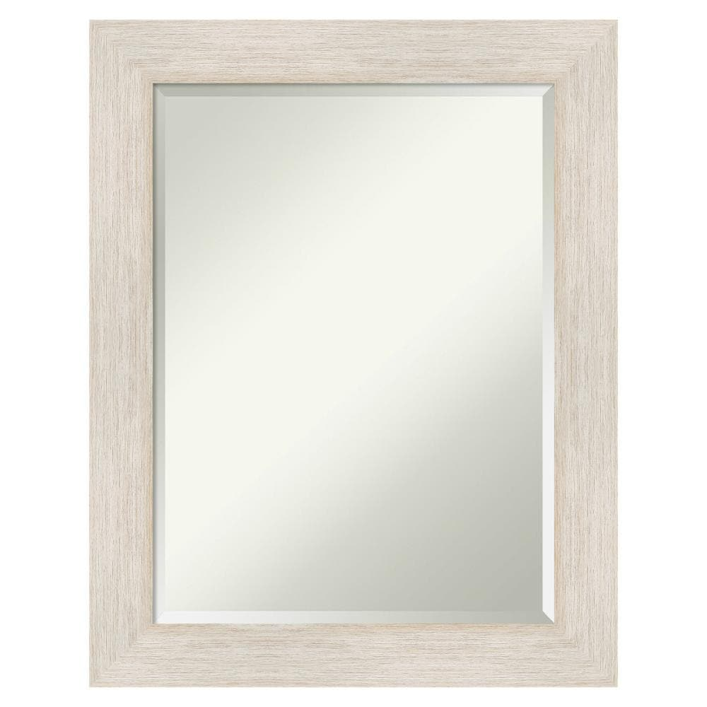 Amanti Art Hardwood Whitewash Frame Collection 22 88 In Matte White Rectangular Bathroom Mirror In The Bathroom Mirrors Department At Lowes Com