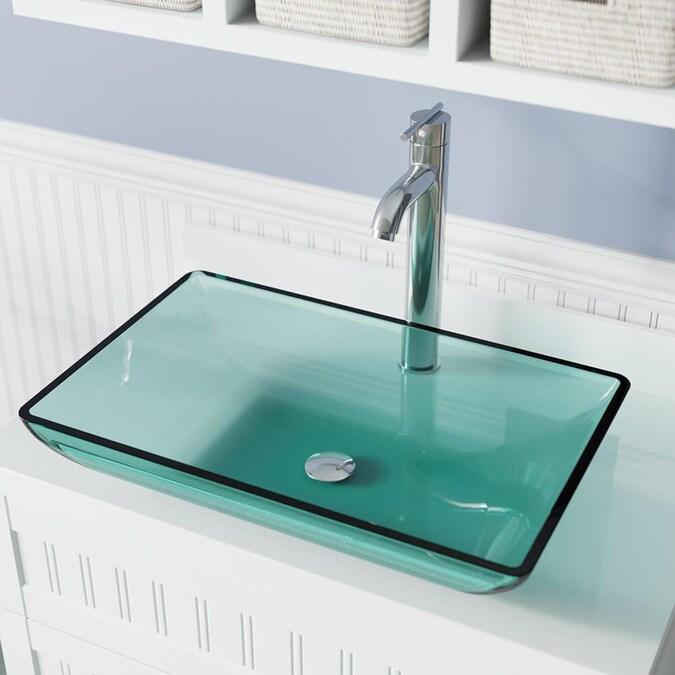 Mr Direct Emerald Tempered Glass Vessel, Green Glass Vessel Bathroom Sinks