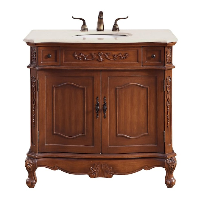 Elegant Decor First Impressions 36 In Brown Undermount Single Sink Bathroom Vanity With Cream Marble Top In The Bathroom Vanities With Tops Department At Lowes Com