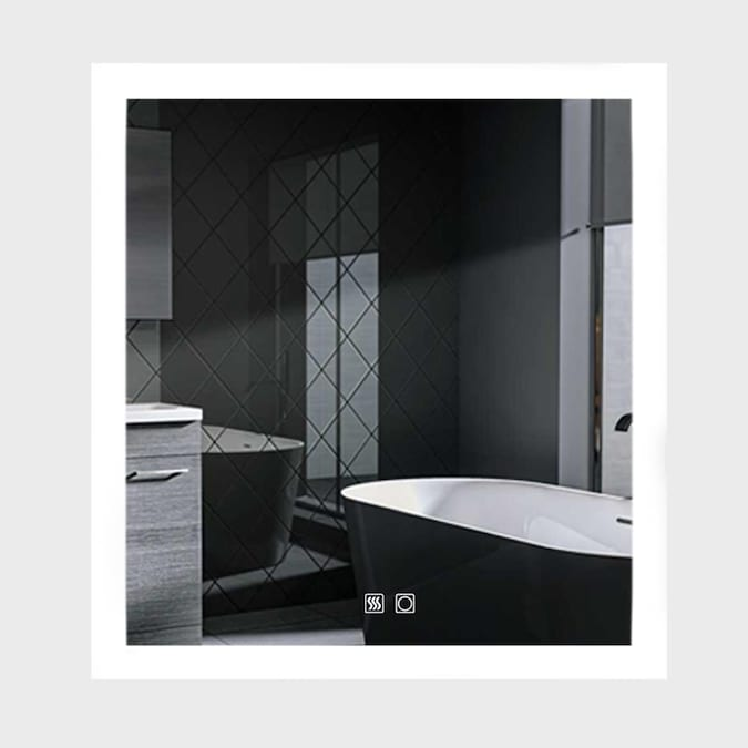 Es Diy Gorgeous 35 In Lighted Led Fog Free White Square Frameless Bathroom Mirror In The Bathroom Mirrors Department At Lowes Com