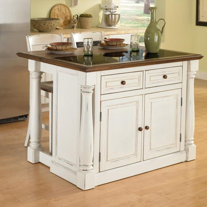 Home Styles White Wood Base With Granite Top Kitchen Island 25 In X 48 In X 36 In In The Kitchen Islands Carts Department At Lowes Com