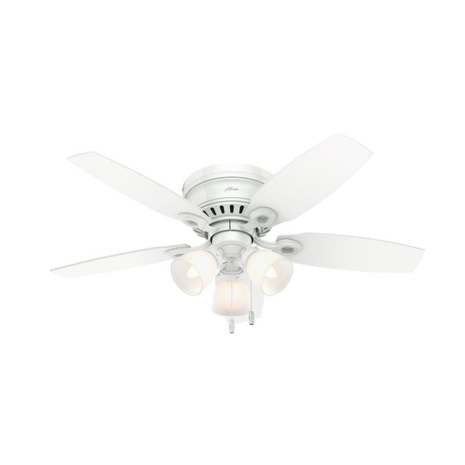 Hunter Hatherton 46 In Snow White Led Ceiling Fan 5 Blade In The Ceiling Fans Department At Lowes Com