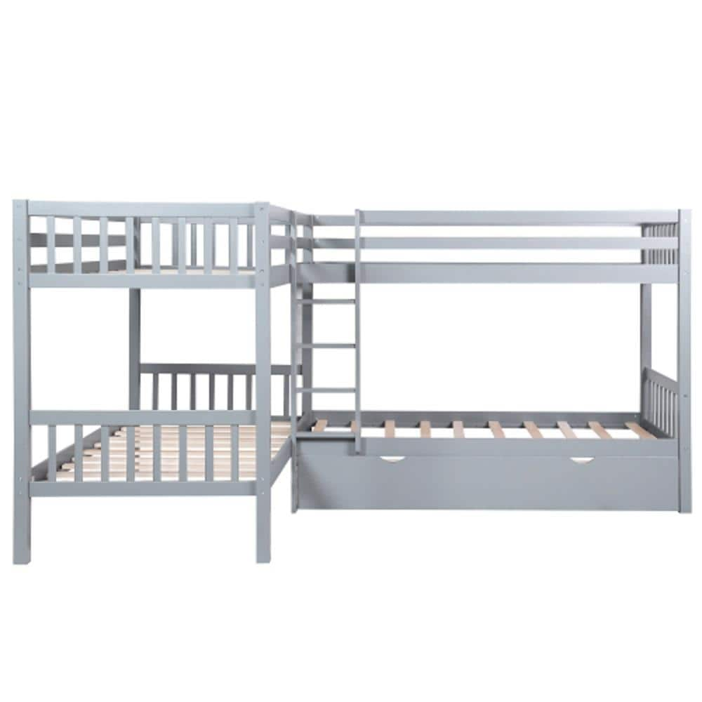 Casainc Twin L Shaped Bunk Bed With Drawers Gray Twin Over Twin Bunk Bed In The Bunk Beds Department At Lowes Com