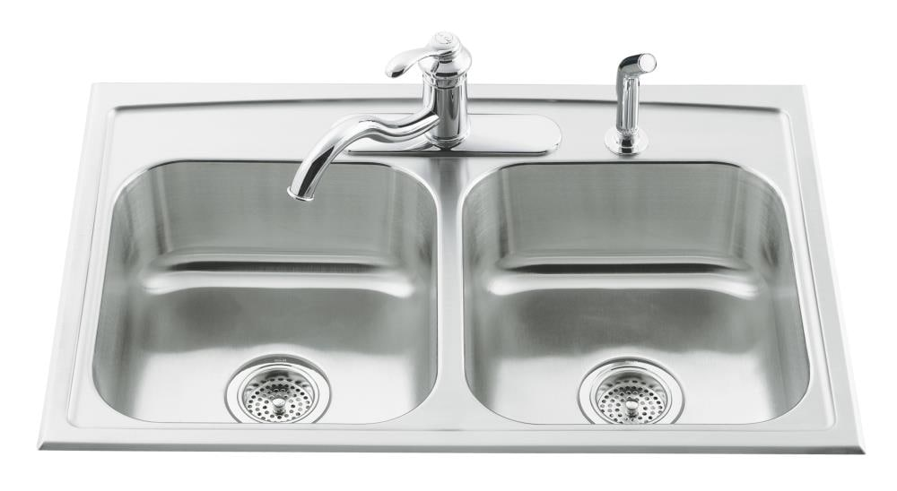 Kohler Toccata Drop In 33 In X 22 In Stainless Steel Double Equal Bowl 3 Hole Kitchen Sink In The Kitchen Sinks Department At Lowes Com
