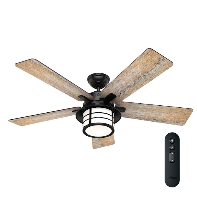 Hunter Lantern Bay 54 In Matte Black Led Ceiling Fan With Remote 5 Blade In The Ceiling Fans Department At Lowes Com