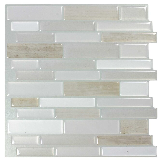 Peel Stick Mosaics Peel And Stick Light Silk 10 In X 10 In Glossy Composite Linear Peel And Stick Wall Tile In The Tile Department At Lowes Com