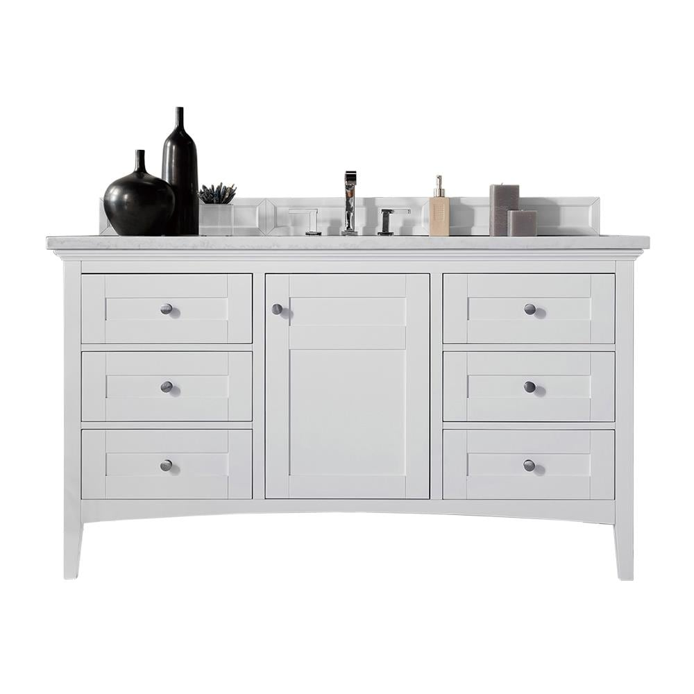 James Martin Vanities Palisades 60 In Bright White Undermount Single Sink Bathroom Vanity With Carrara White Marble Top In The Bathroom Vanities With Tops Department At Lowes Com