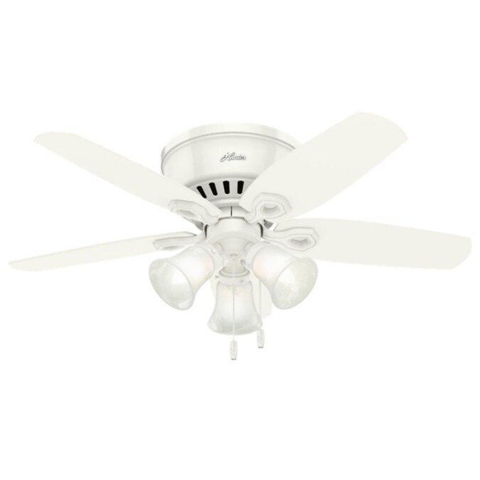 Hunter Builder Low Pro 42 In Snow White Led Ceiling Fan 5 Blade In The Ceiling Fans Department At Lowes Com