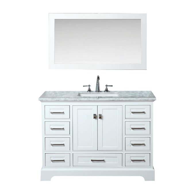 Carrara White Natural Marble Top, What Size Mirror For A 48 Vanity