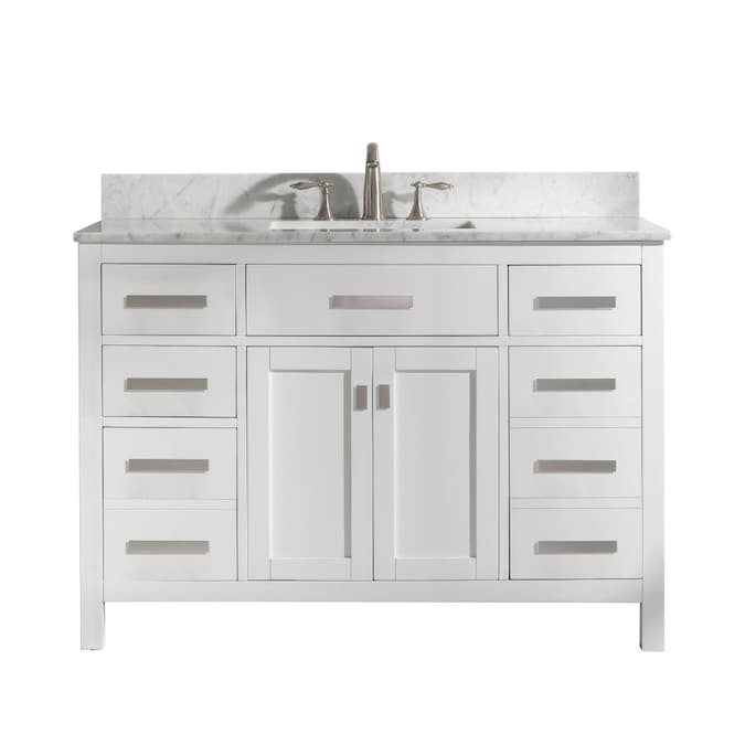 Design Element Valentino 48 In White Undermount Single Sink Bathroom Vanity With White Natural Marble Top In The Bathroom Vanities With Tops Department At Lowes Com