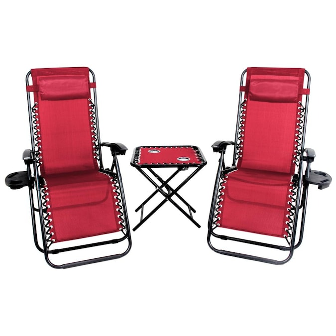 Patio Premier Set Of 2, Red And Black Folding Patio Chairs