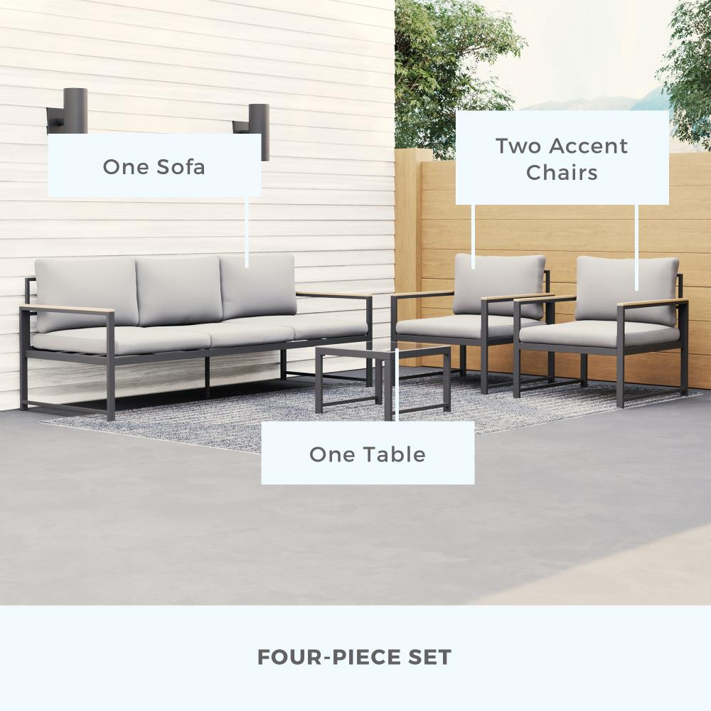 Brookside Meg Outdoor Metal Set with Sofa, Two Chairs, Accent Table