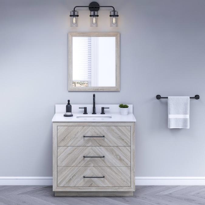 Style Selections 36 In Weathered Oak, Weathered Oak Bathroom Vanity Mirror
