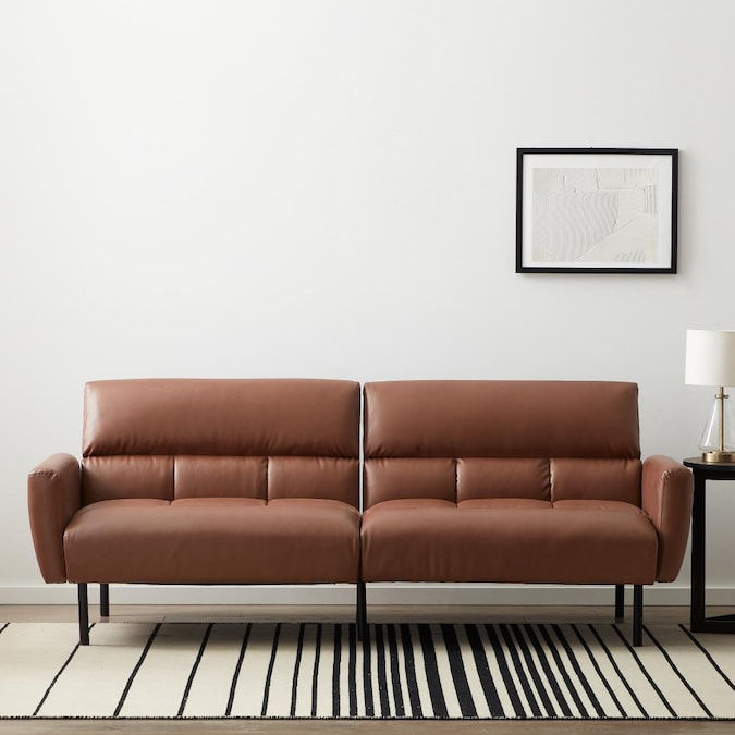 Futons Sofa Beds, Brown Fabric Leather Sofa Bed