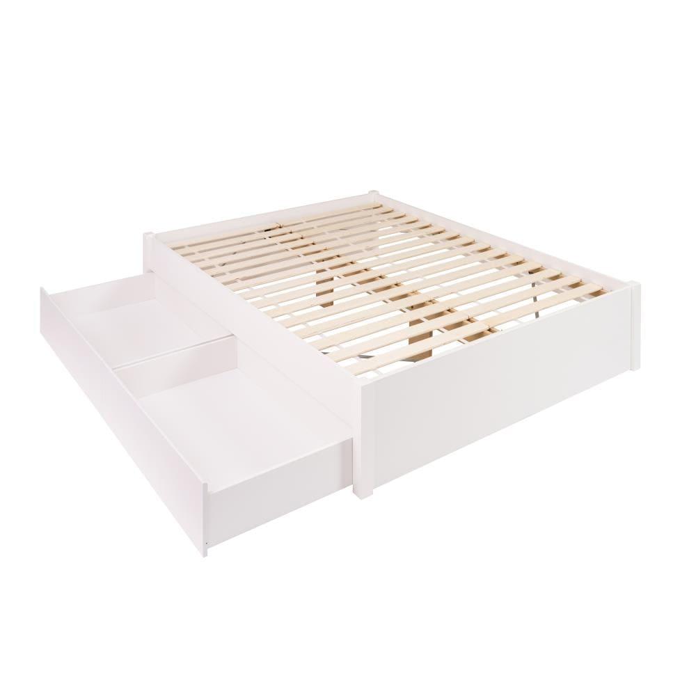White Queen Platform Bed With Storage, White Queen Size Platform Beds With Storage