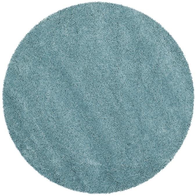Aqua Blue Round Indoor Solid Area Rug, 10 Foot Round Rug