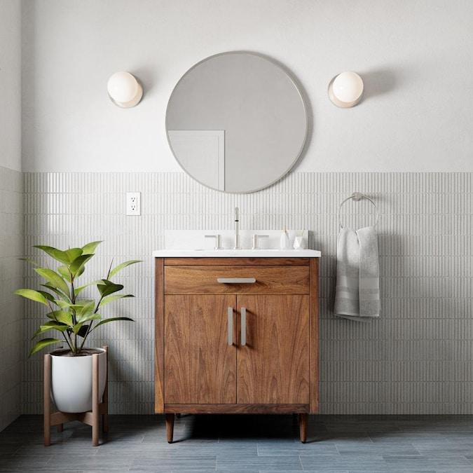 Origin 21 Kapolei 30 In Warm Walnut Undermount Single Sink Bathroom Vanity With Engineered Carrara Marble Engineered Stone Top In The Bathroom Vanities With Tops Department At Lowes Com