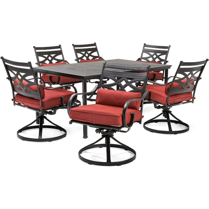 Hanover Montclair 7 Piece Brown Frame, Red Patio Table Set