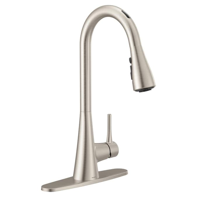 Moen U By Moen Smart Faucet Sarai Spot Resist Stainless 1 Handle Deck Mount Pull Down Voice Activated Kitchen Faucet In The Kitchen Faucets Department At Lowes Com
