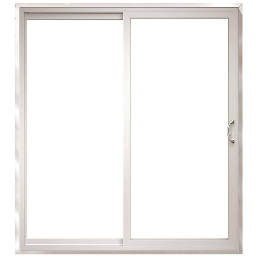150 Series 72-in x 96-in Tempered Clear Glass White Vinyl Right-Hand Sliding Prehung Double Door Sliding Patio Door   - Pella 1000010191