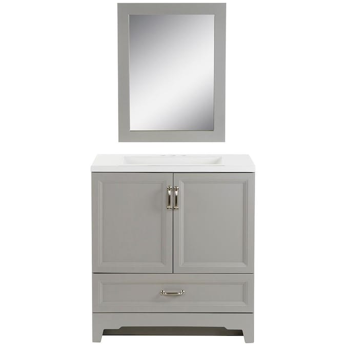 Style Selections 30 In Smoky Gray Single Sink Bathroom Vanity With White Cultured Marble Top Mirror Included In The Bathroom Vanities With Tops Department At Lowes Com