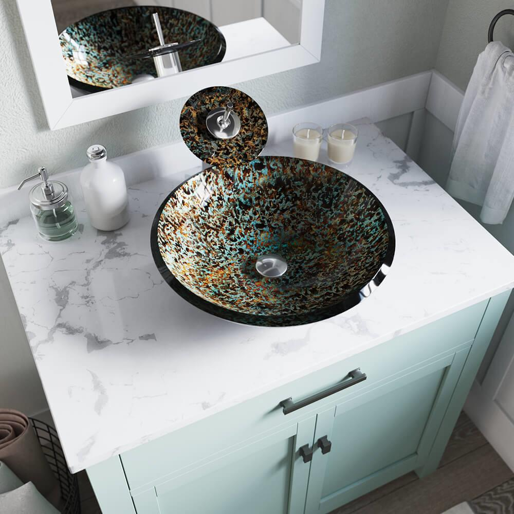 Mr Direct Multi Colored Tempered Glass Vessel Round Bathroom Sink 18 In X 18 In In The Bathroom Sinks Department At Lowes Com