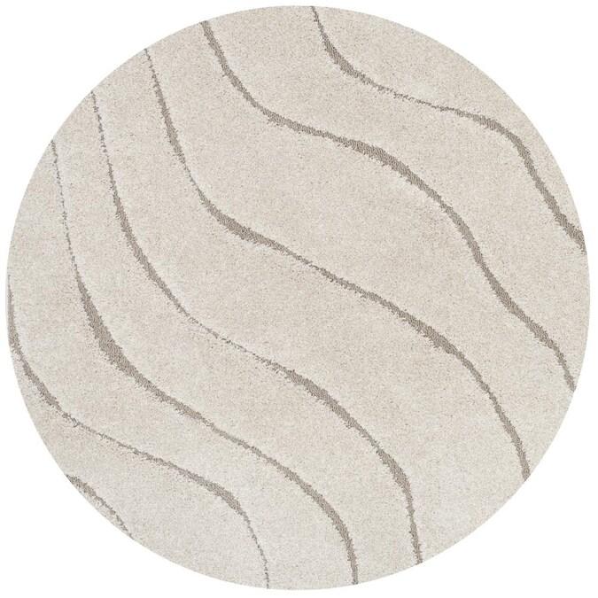 Safavieh Florida Waves 5 X Cream, Round Cream Rug
