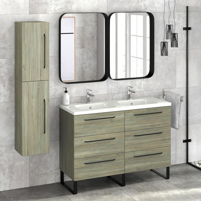 Randalco 48 In Sahalie Pine Double Sink Bathroom Vanity With Glossy White Ceramic Top In The Bathroom Vanities With Tops Department At Lowes Com